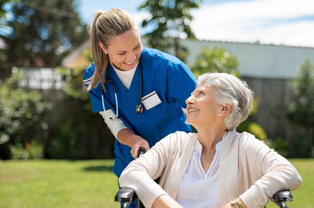 Nurse and Woman - Long-term care insurance through Colton Groome Insurance Advisors